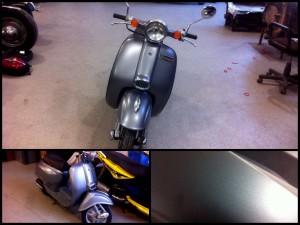 Покраска скутера в серый мат